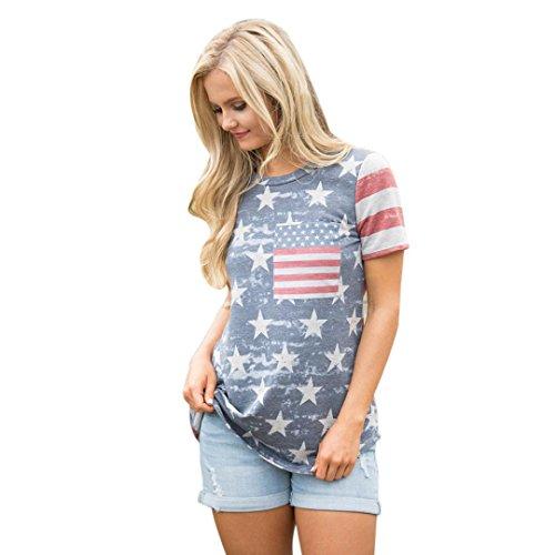 Hemd damen Kolylong® Frauen Sommer gedruckt kurze Ärmel Tops Amerikanisches Flaggen T-Shirt Lose bluse (Mehrfarbig, XL) -