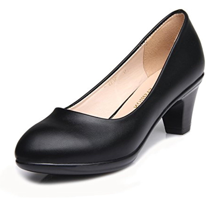 Femmes Noir Escarpins Bout Ferm eacute; En Cuir Talon Chaussures Shallow Bas Talon Cuir Travail Bureau Soir eacute;e Court Chaussures - B07DDDFNBX - dd802f