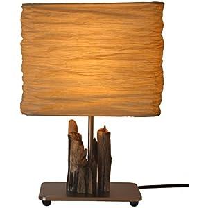 TreibholzTraum Design Tischlampe aus Treibholz BALTIC SWAN - Unikat Made in Germany, Massives Holz von der Ostsee in Handarbeit – LED – Tischleuchte