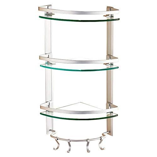 Drei-tier-glas Badezimmer Regal (LIZHIXINJIAZI 1/2/3 Tier Badezimmer Regal Dusche Caddy Aluminiumlegierung Glas Lagerregal für Küchenbedarf mit Handtuchhalter Badezimmer (Size : 25 * 25 * 60cm))
