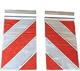 2x Bandera de advertencia de 250x 400mm de Orafol, elevador trasero, plataforma elevadora, marcado izquierda + derecha