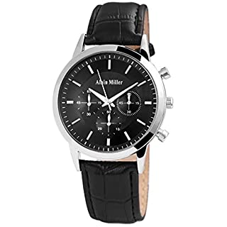 ALAIN MILLER Herrenuhr Schwarz Silber Analog Chrono-Look Metall Leder Quarz Armbanduhr