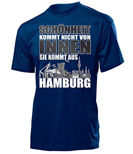 Schönheit kommt Nicht von innen sie kommt aus Hamburg 4316 Fussball Fanshirt Fanartikel Hamburger Fan Geschenk Geburtstag Mann Herren T-Shirt Navy S