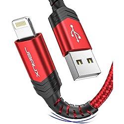 JSAUX Chargeur Iphone 1.8M [Certifié MFi] Durable Cable Iphone Lightning en Nylon Ultra Résistant Compatible avec iPhone 11, XS Max XS XR, X 8 / 8Plus, 7 / 7Plus, 6s / 6sPlus, 6 / 6Plus, ipad-Rouge