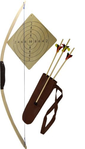 Bogenset aus Sportbogen Eschenholz, ca.114 cm, ab 14 Jahren, mit Holz- Zielscheibe, Köcher und drei Pfeilen