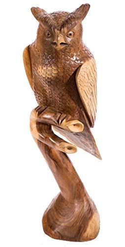 Windalf - Figura Decorativa de búho de Madera (100 cm, Hecha a Mano)