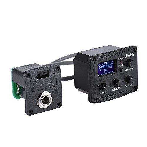 ammoon Ukulele Ukelele Uke Piezo Pickup Preamp 3-Band EQ Equalizer Tuner System mit LCD-Display (2 Zeile Lcd)