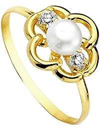 Sortija oro 18k flor perla multipiedra [AB3112]