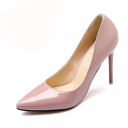 HXVU56546 Il Nuovo Elegante E Tacchi Alti In Primavera E In Autunno Scarpe Donna Single Scarpe Scarpe Da Lavoro The bare Pink