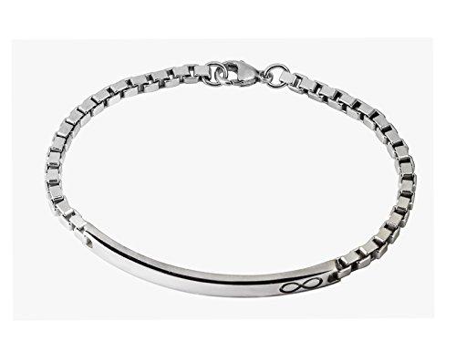 Aka gioielli - bracciale uomo id con targhetta infinito in argento sterling 925 rodiato - catena modello veneziana 3.8 mm - lung. 21,5 cm