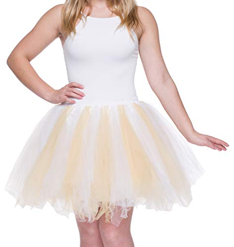 Dancina Damen Petticoat 50er Jahre Vintage Tutu Tüllrock [Sticker XXL] Weiß/Gelbgold Gr. 42-46