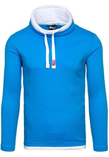 BOLF 18 Herren Pullover Longsleev ohne Kapuze Sweatshirt Hellblau XL [1A1] |