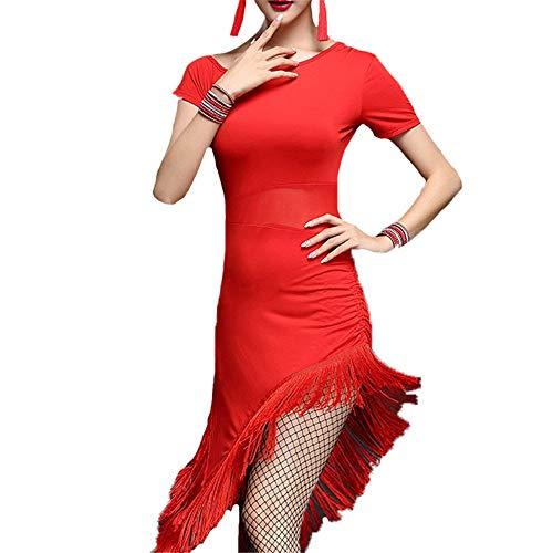 Ljleey-CL Damen tanzen Rock Damen Latin Dancewear Kurzarm Split Bein Fransen Quaste Flapper Dance Kleider Salsa Tango Gesellschaftstanz Kostüm Praxis Leistung Tanz Kleid (Farbe : Rot, Größe : M) (Red Flapper Kleid Kostüm)