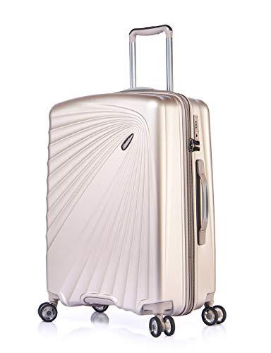 Verage Kinetic Leichter Hartschalen-Koffer mit 4 Doppel-Rollen und TSA, ABS/PC Trolley (M-66cm-84 Liter, Metallic Champagner) mit Sicherheits-Reißverschluss