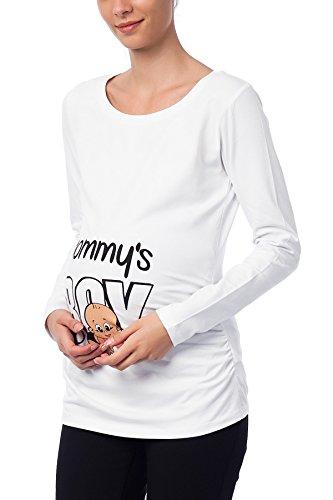 Mignon witzige umstand Mode T-shirt avec motif Grossesse–Mommys Boy à manches longues Blanc