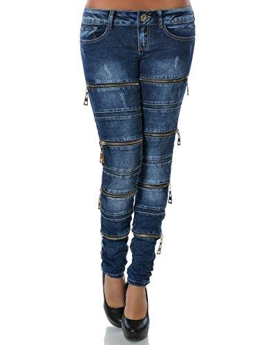 Damen Jeans Hose Skinny (Röhre) No 14195, Farbe:Blau;Größe:42 / XL