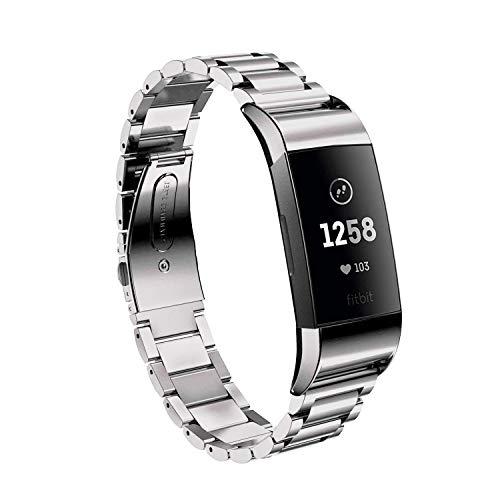 Aimtel kompatibel Fitbit Charge 3/Charge 3 SE Armband,Solid Edelstahl Metall Ersatzarmband Uhrenarmb