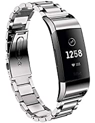 Aimtel kompatibel Fitbit Charge 3/Charge 3 SE Armband,Solid Edelstahl Metall Ersatzarmband Uhrenarmbänder kompatibel Fitbit Charge 3 Fitness-Tracker