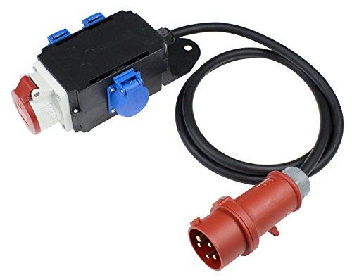 as - Schwabe MIXO Adapter/Stromverteiler ENZ Stecker mit 2 m Gummischlauchleitung und 1 x CEE und 3 x Schuko Steckdosen - Robuster Baustellen Starkstrom-Verteiler - IP44 - Made in EU I 61520, schwarz