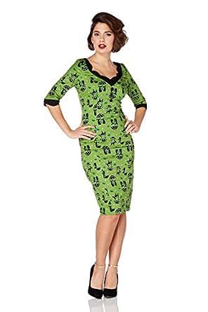 Neues Voodoo Vixen 50s Rockabilly Retro Vintage Stil Katze Katnis Wiggle Bleistift Kleid (S - EU 34 / UK 8 / US 4)