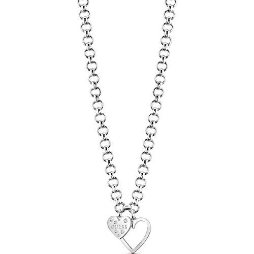 Guess Jewellery Heart In Heart Necklace Damen - Versilbert Ubn84012