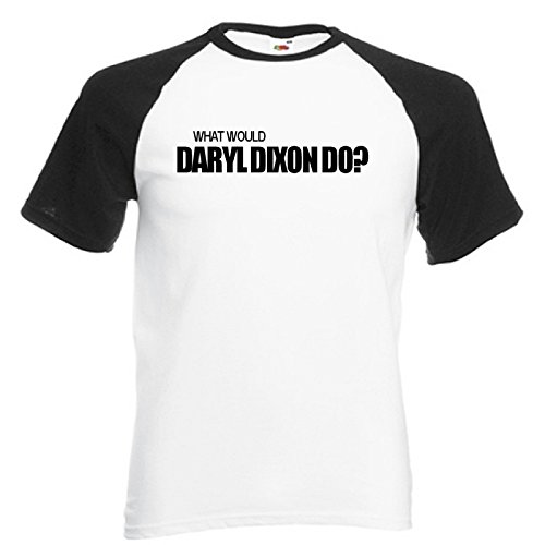 What Would Daryl Dixon Do? Baseball Style Black and White T-Shirt with Black Print