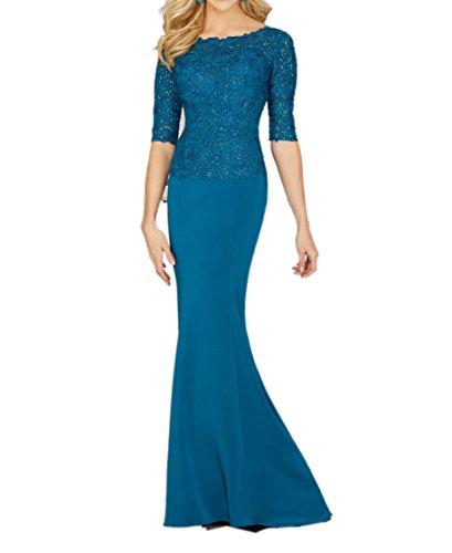 La_Marie Braut Dunkel Blau Chiffon Spitze Langarm Brautmutterkleider Abendkleider Langes Etuikleider Festlich Damen Dunkel Blau