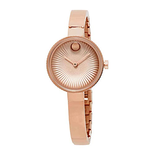 Movado Women's Edge 28mm Rose Gold-Tone Steel Bracelet Case Quartz Analog Watch 3680022