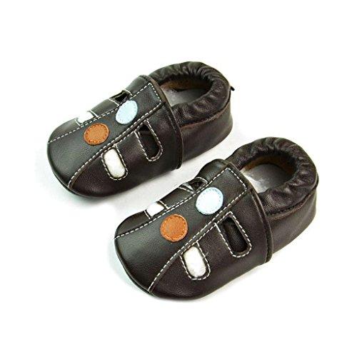 FYGOOD Chaussures Souples Bébé Chaussons Enfant Unisex en cuir Doux fleur rose S:0-6mois/longueur intérieur:11CM brun