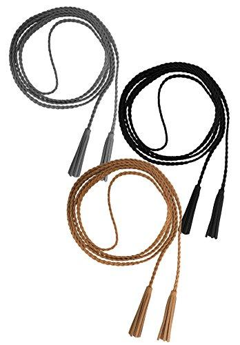 Nanxson(TM Damen Mädchen Modern Dekorative Gestrickte Lederbauchkette Geflochtene Gürtel mit Troddel (schwarz + grau + apricot) -