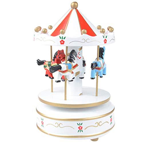 Vintage Holz Karussell Spieluhr Kind Mädchen Weihnachten Geburtstagsgeschenk Spielzeug Hochzeitsdekoration