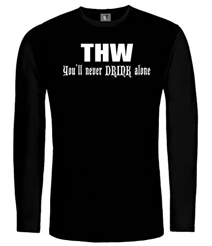 THW You'll never DRINK alone; LangarmShirt Schwarz