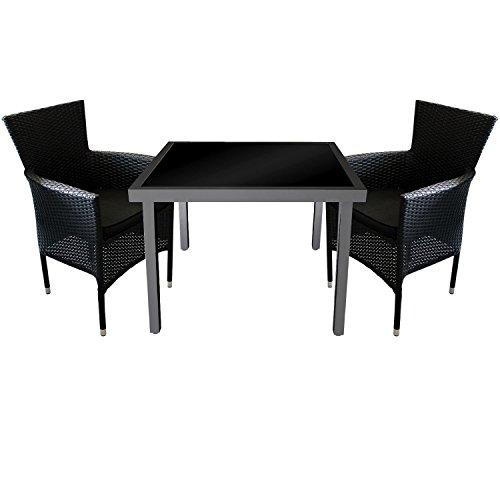 3tlg. Gartengarnitur Gartentisch Aluminium Glastisch 90x90cm + 2x Poly Rattan Gartensessel stapelbar inklusive Sitzkissen Schwarz