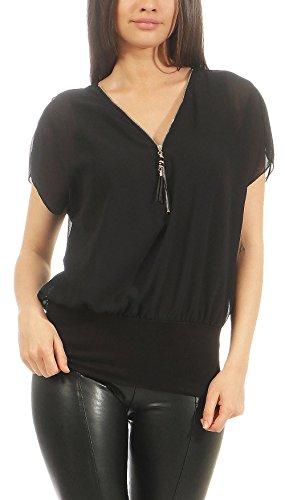 Malito Damen Kurzarm Bluse im Fledermaus Look | Tunika mit Zipper | T-Shirt mit breitem Bund | Shirt - elegant 6298 (schwarz)