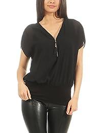 Malito Damen Kurzarm Bluse im Fledermaus Look   Tunika mit Zipper   T-Shirt  mit 1c1fb06625