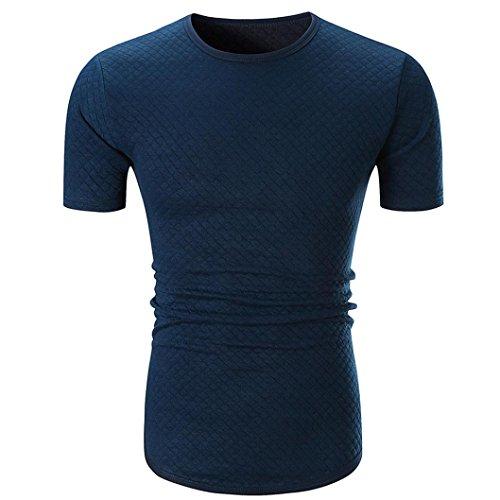 VEMOW Vatertag Geschenk Persönlichkeit Männer Sommer Casual Täglichen Kurzarm Plaid T-Shirt Top Pullover Bluse Tees(Marine, EU-56/CN-L)