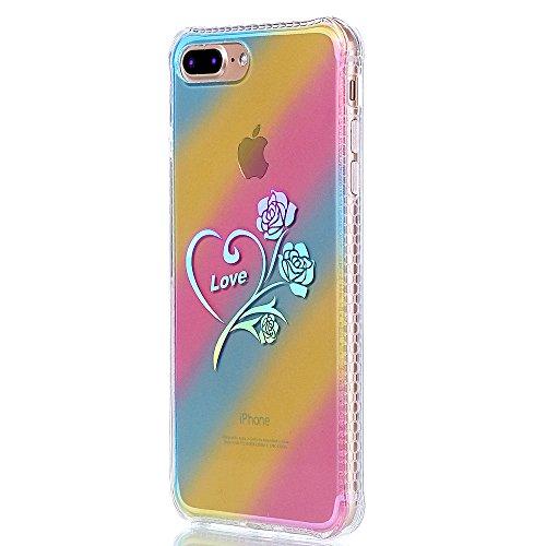 """Protecteur étui pour Apple iPhone 7Plus 5.5""""(NON iPhone 7 4.7""""), CLTPY Mode Beau Arc en Ciel Plating Impression Peint Motif Case en Souple Caoutchouc Ultra Fine Slim Transparente Bumper Shell pour iPh Love Roses"""
