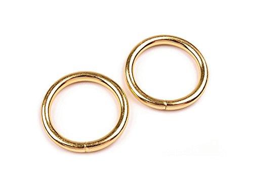 maDDma  10 stabile Metallringe Rundringe O-Ringe Gurt-Ringe, Größen-/Farbwahl, Variante:Gold, Größe:25x3.7