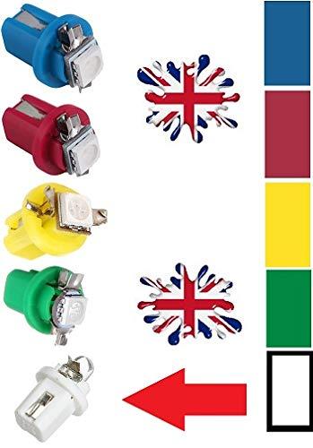B8.5D/509t/286/T5 LED Twist Lock Tableau de bord LED Ampoule - Blanc Bleu Rouge Rose Vert jaune - Voiture Speedo Dash horloges Cluster de tableau de bord Jauge LED - Anglais