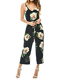 170cb4d88 Romacci Women Strap Jumpsuit Floral Print V-Neck Backless Belted Wide Leg  Boho Playsuit Rompers