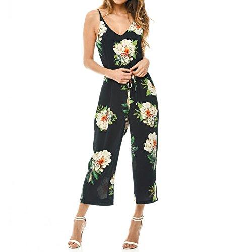 Romacci Damen Overall mit Blumenmuster mit V-Ausschnitt Backless Belted Wide Leg Boho Playsuit - Belted Floral Print Kleid