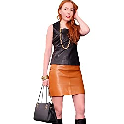 """Mini falda de cuero de Napa genuino cuero colour negro (FD-1020) """""""""""" aparte de haber más abajo la tabla de tallas coñac 38"""