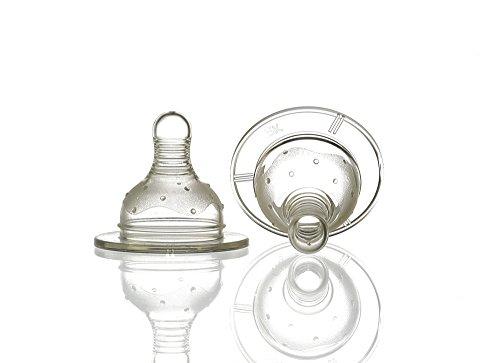 Bebé Elegancia 2604 Amplio cuello de botella pezón, flujo rápido, paquete de 2