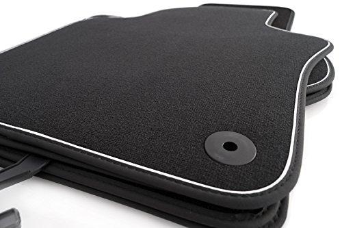 kh Teile Fußmatten / Velours Automatten Premium Qualität Stoffmatten 4-teilig schwarz Nubukleder Einfassung mit weißem Band
