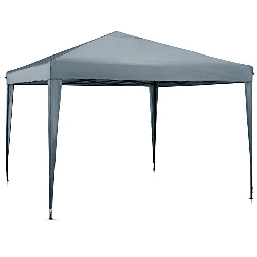 You have a choice between two colours, ivory and grey. Depending on which colour you are attracted to, the price might slightly differ. The 2.5 X 2.5m gazebo offers a maximum height of 2.5m. This is adequate space for people to manoeuvre without having to stoop low or bump against the metal frame. It is easy to set it up and take it down in a matter of minutes, this permits the user to spend time on more important things.