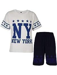 9f9bd8fc138b38 A2Z 4 Kids® Kids Boys Girls T Shirt Short Set Designer s 100% Cotton NY New  York Print T-Shirt Top   Shorts Set Age 5…
