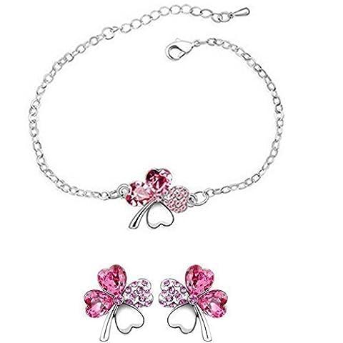 Bracelet/boucle d'oreille parure-trefle a 4 feuille-rose clair