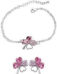Pulsera y pendientes set-clover-crystal-rose