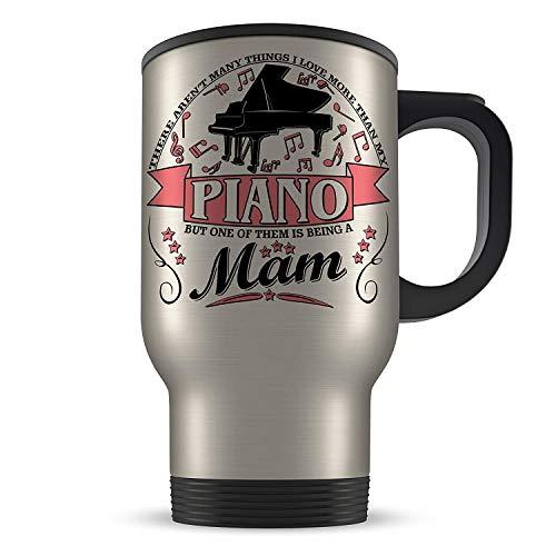 Funny Gift Mug 14oz There Aren't Many Things I Love More Then My Piano - MAM Aluminium Travel Mug - Pink