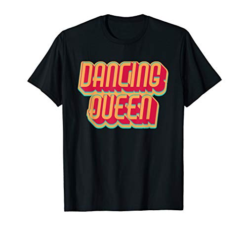 Mode Jahren 1970er Kostüm - DANCING QUEEN Vintage 1970er Retro Disco Shirt